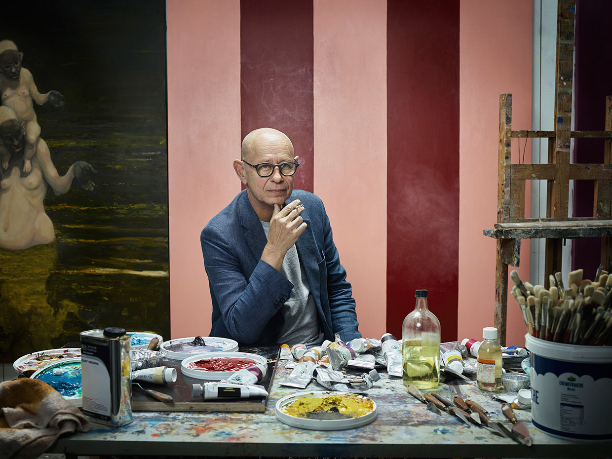 Michael Kvium in his studio, 2016. Photo: Ken Hermann