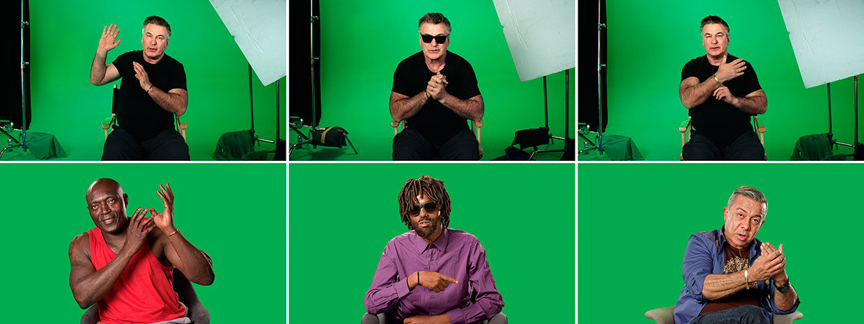 Candice Breitz, Stills from Love Story, 2016. Featuring Alec Baldwin and Julianne Moore Left to right: José Maria João, Farah Abdi Mohamed and Luis Ernesto Nava Molero. Courtesy Goodman Gallery, Kaufmann Repetto and KOW