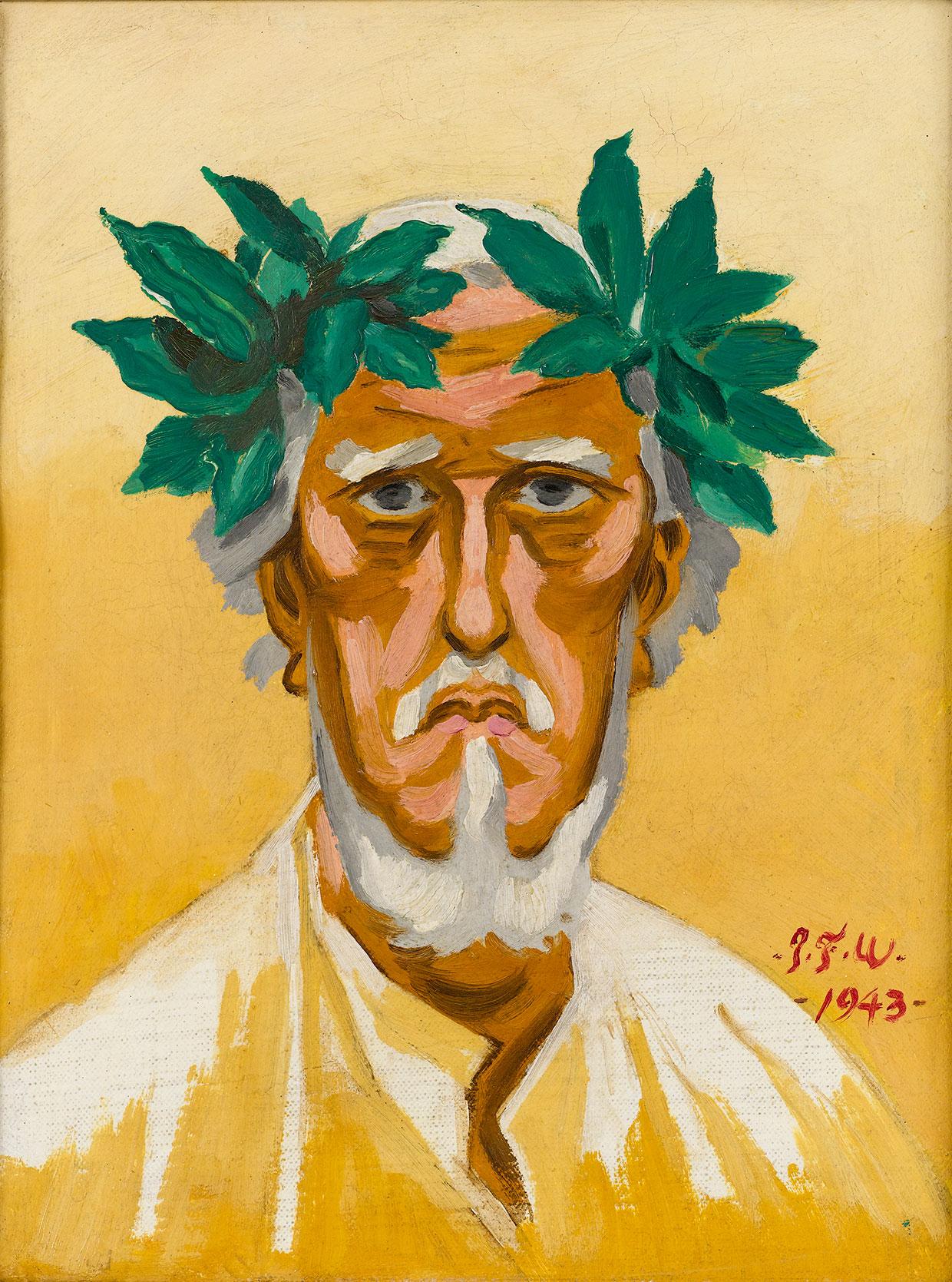J.F. Willumsen, Self-portrait. Laurel Wreath on Head, 1943. J.F. Willumsens Museum. Photo: Anders Sune Berg