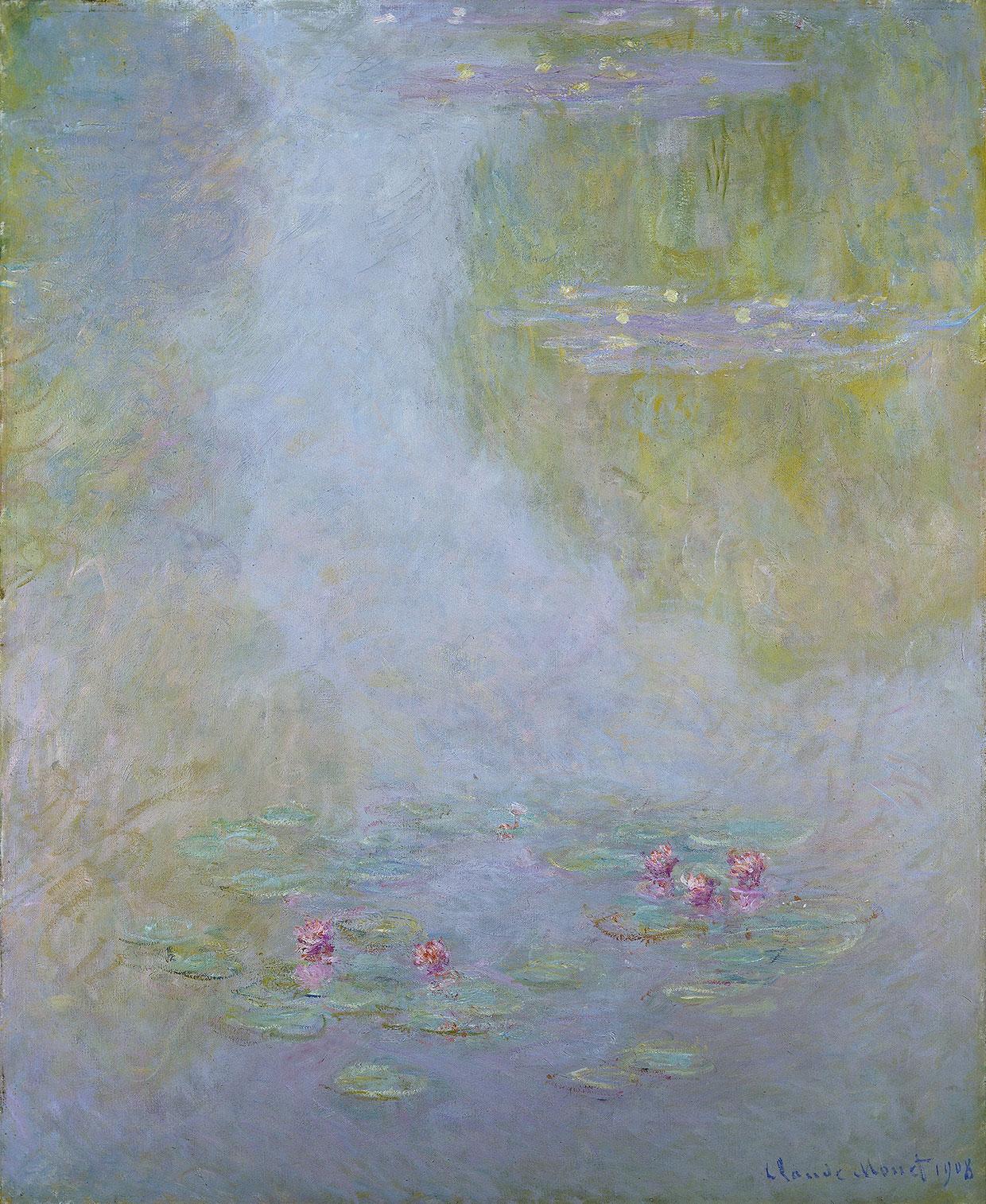 Claude Monet, Water Lilies, 1908. Amgueddfa Cymru - National Museum Wales. Bequeathed by Gwendoline Davies, 1951. Photo: National Museum Wales