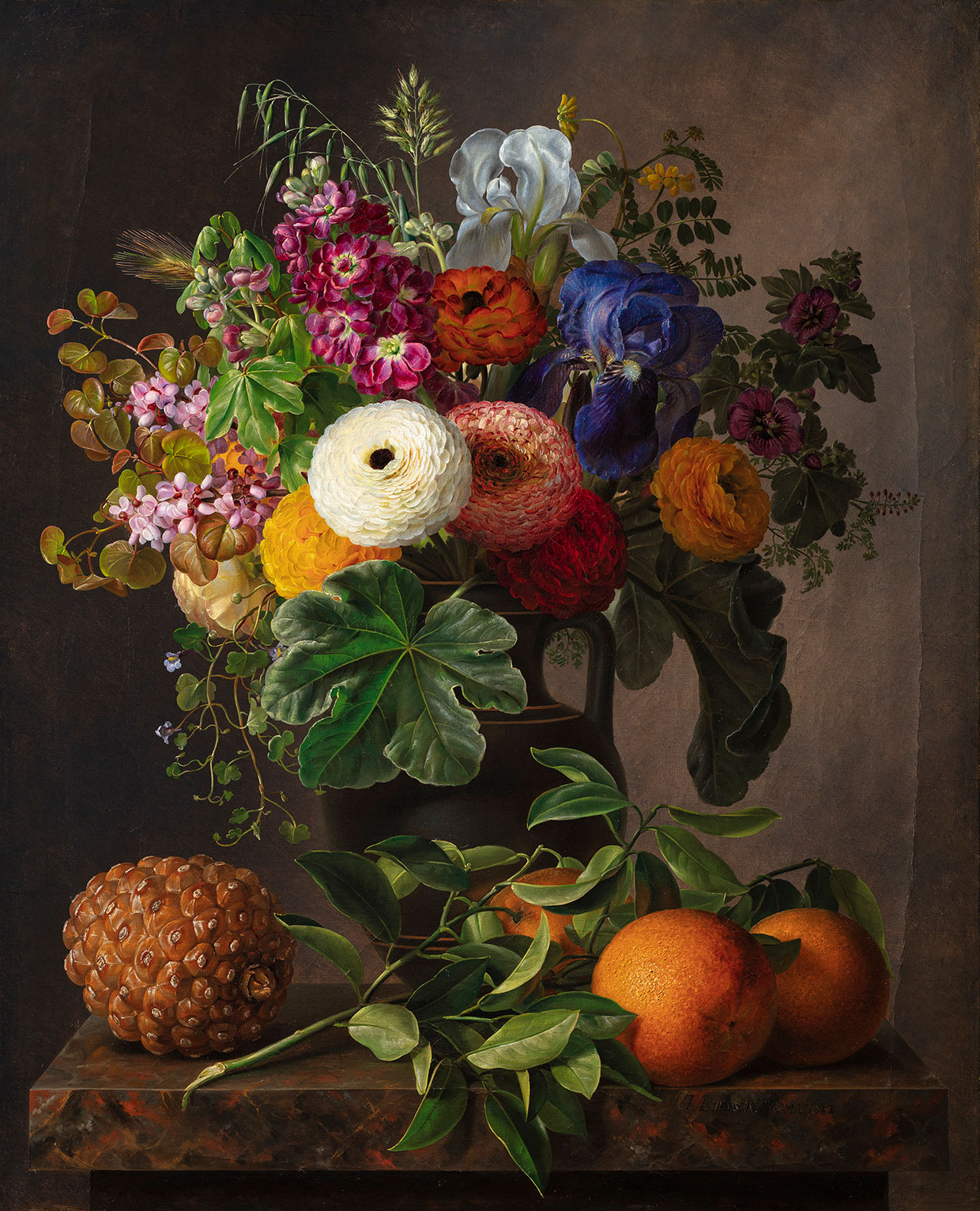 J.L. Jensen, Still Life with Flowers in an Antique Vase on a Marble Tabletop, 1834. Thorvaldsens Museum. Photo: Thorvaldsens Museum